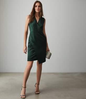 Reiss RAQUEL V-NECK SATIN DRESS Dark Green