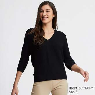 Uniqlo WOMEN 3D Cotton Cocoon V Neck 3/4 Sleeve Sweater