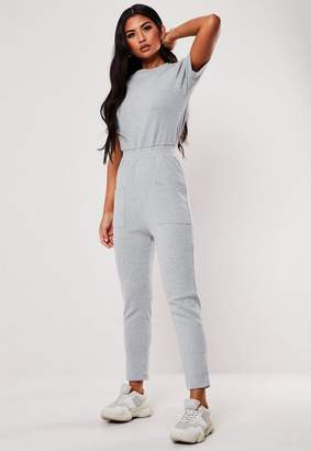 Missguided Grey Jersey Ribbed Pocket Front Jumpsuit, Light Grey