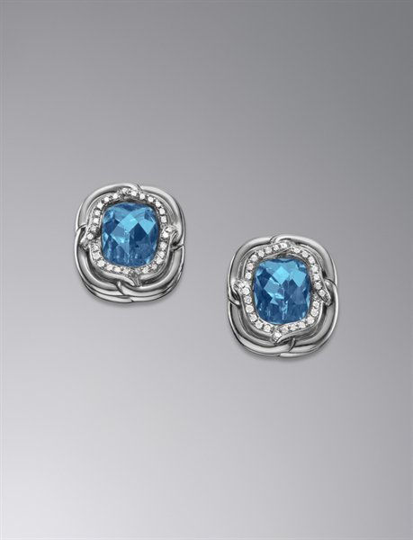 Labyrinth Earrings with Blue Topaz