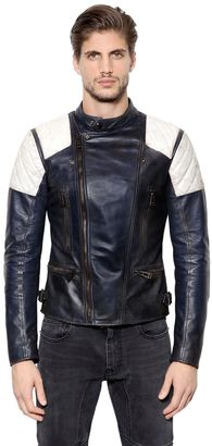 Greensted Two Tone Leather Moto Jacket $2,195 thestylecure.com