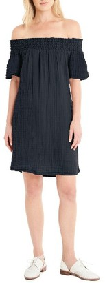 Women's Michael Stars Smocked Cotton Off The Shoulder Dress $148 thestylecure.com