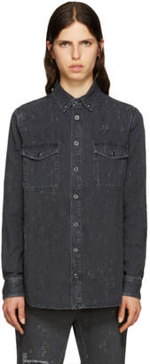 Givenchy Grey Distressed Denim Shirt