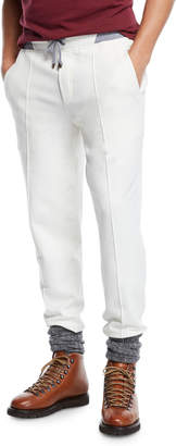 Brunello Cucinelli Men's Drawstring Spa Sweatpants with Front Crease