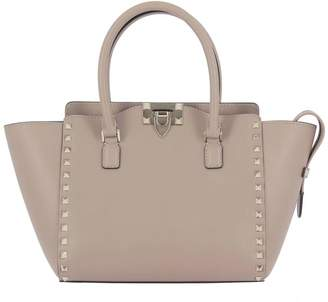 Valentino GARAVANI Tote Bags Rockstud Shopping Bag In Real Leather With Metal Studs