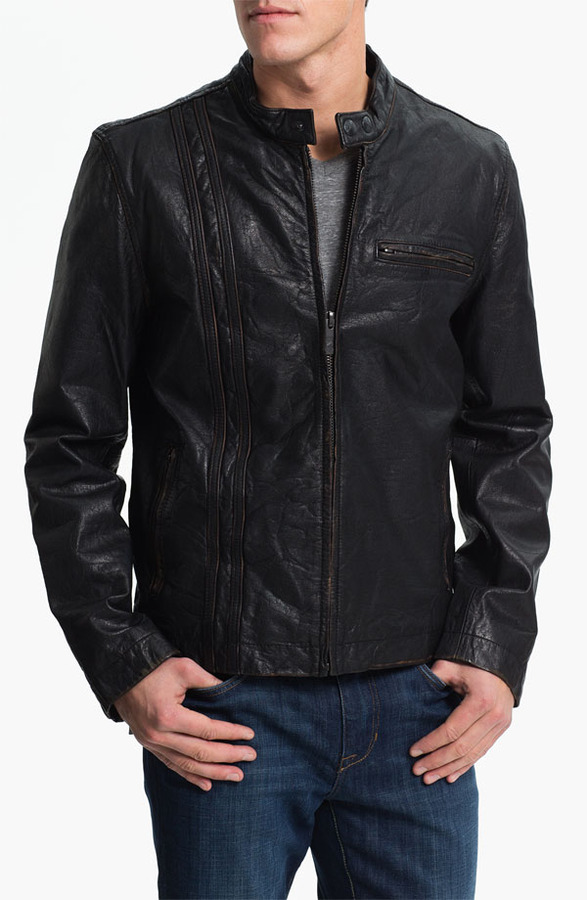 Andrew Marc New York Denim & Leathers by Leather Motorcycle Jacket