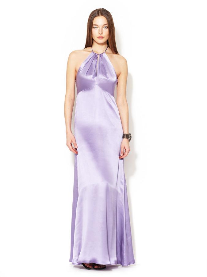 Red Carpet Silk Satin Keyhole Neckline Gown