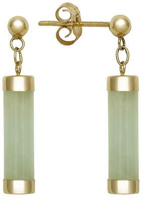 FINE JEWELRY Genuine Jade 14K Yellow Gold Tube Earrings