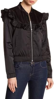 Melrose and Market Nylon Ruffle Bomber Jacket (Regular & Petite)