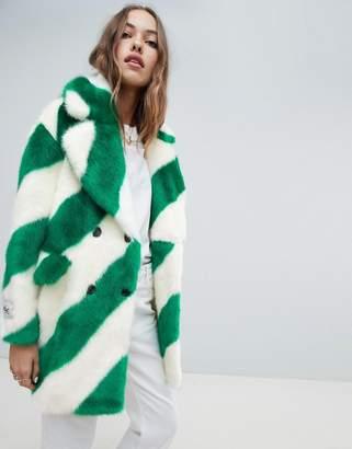 Jakke double breasted mid length faux fur coat in diagonal stripe
