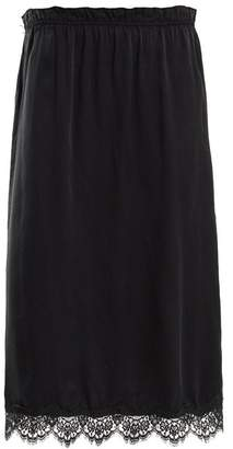 Icons Carnation Lace Trimmed Silk Skirt - Womens - Black
