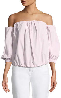 7 For All Mankind Off-the-Shoulder Puff-Sleeve Poplin Top