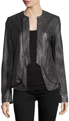 Halston Heritage Open-Front Leather Jacket, Charcoal $383 thestylecure.com