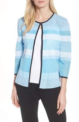 Ming Wang Three-Quarter Sleeve Bluebonnet Jacket