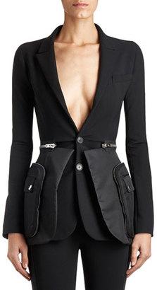 Givenchy Crepe & Satin Utility Blazer, Black $4,520 thestylecure.com