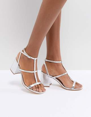 Glamorous Silver Heel Caged Sandals