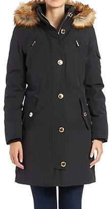 Michael Kors MICHAEL Womens Faux Fur Trim Down Parka XL