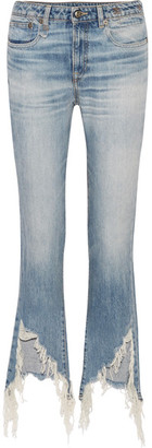 R13 - Kick Fit Distressed Mid-rise Flared Jeans - Mid denim