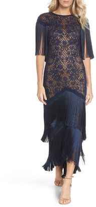 2d3e03153911 $628 Tadashi ShojiEmbroidered Mesh & Fringe Gown