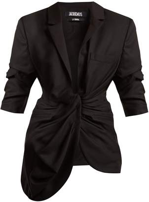 Gathered-front wool jacket