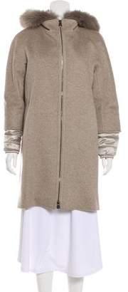 Cinzia Rocca Fur-Trimmed Virgin Wool Coat w/ Tags