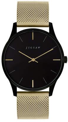 Jigsaw Ladies Watch, Round Black Ip Stainless Steel Case, Black Dial, Stainless Steel Mesh Bracelet