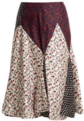 Calvin Klein Liberty Floral Print Silk Skirt - Womens - White Multi