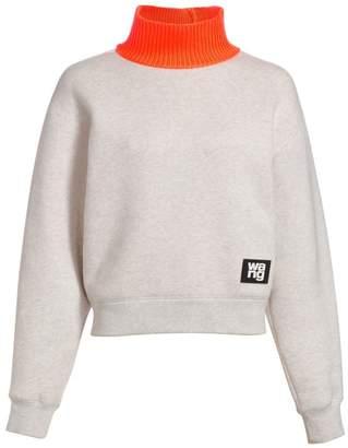 Alexander Wang Rib-Knit Neon Funnelneck Sweatshirt