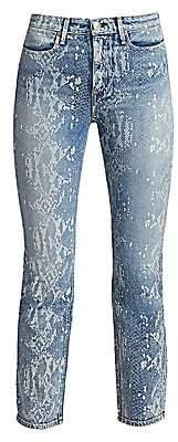 Rag & Bone Women's Mid-Rise Ankle Cigarette Python Print Jeans