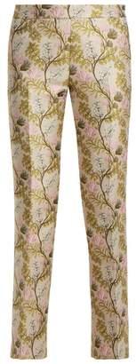 Giambattista Valli Floral Jacquard Kick Flare Trousers - Womens - Pink Multi