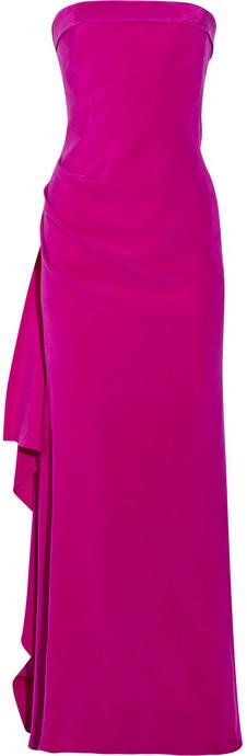 Amanda Wakeley Ruffled silk-cady strapless gown