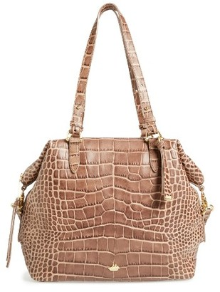 Brahmin Delaney Southcoast Croc-Embossed Leather Tote - Beige $395 thestylecure.com
