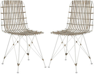 One Kings Lane Rae Whitewash Wicker Side Chairs - Set of 2