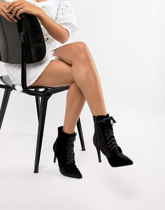 Glamorous Lace Up Stiletto Heeled Boots