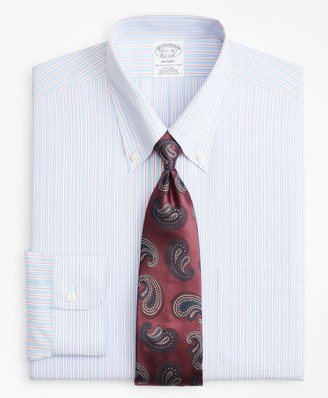 Brooks Brothers Regent Fitted Dress Shirt, Non-Iron Split Alternating Stripe