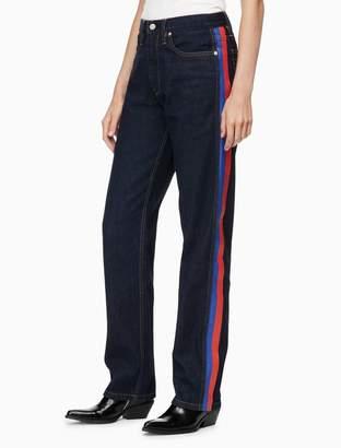 Calvin Klein CKJ 030 high rise straight side stripe jeans