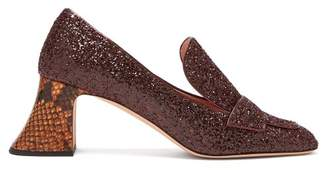Rochas Pascal Glitter Embellished Block Heel Pumps - Womens - Burgundy