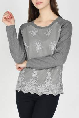 Skies Are Blue Lace Overlay Top
