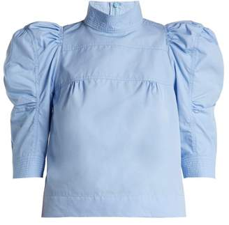Chloé Puffed Sleeve Cotton Poplin Blouse - Womens - Light Blue