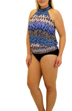 Fit 4 U Sand N Sea Smocked Blouson Top Women's Swimsuit