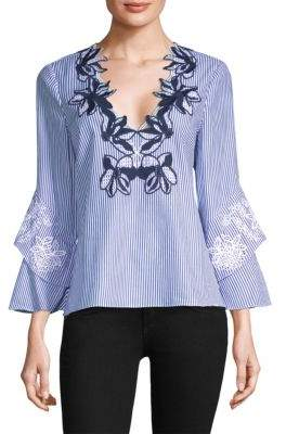 Tanya Taylor Gail Embroidered Lace Bell-Sleeve Cotton Top