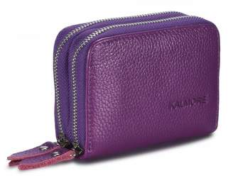 Kalmore Women's Genuine Leather RFID Secure Spacious Cute Zipper Card Wallet Small Purse