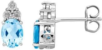 Diamore DIAMOREBlue Topaz & Diamond Accent Sterling Silver Stud Earrings