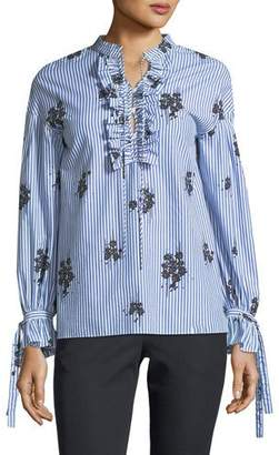 Derek Lam 10 Crosby Long-Sleeve Striped Cotton Blouse with Ruffled Trim