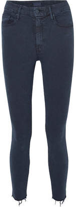 Mother Looker Cropped High-rise Skinny Jeans - Navy