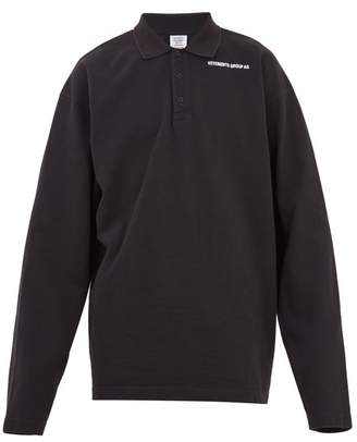 Vetements Long Sleeved Logo Print Pique Polo Shirt - Mens - Black