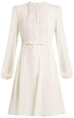 Giambattista Valli Floral-lace panelled silk-crepe dress