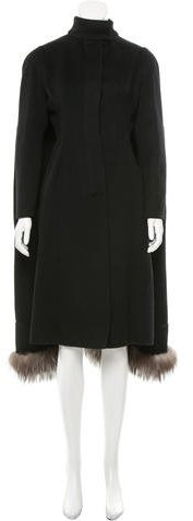 Valentino Valentino Fur-Trimmed Wool-Blend Coat w/ Tags