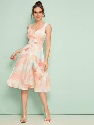 Shein Brush Print Button Front Flowy Slip Dress