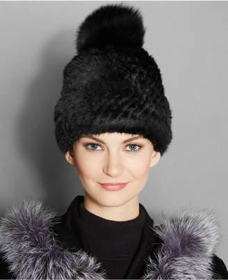 The Fur Vault Fox-Fur-Pom Knitted Mink Fur Beanie